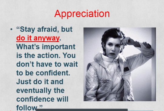 "General Organa / Carrie Fisher is our ""spirit animal"" of appreciation. We are leaders--generals--on the ground."